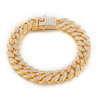 D&Z 8.5 inch Bling Iced Out Cubic Zirconia Cuban Miami Link Bracelet Homme For Male's Hip Hop Street Jewelry
