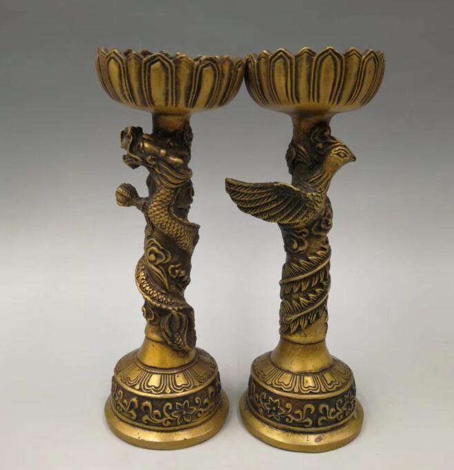China pure brass dragon and phoenix candlestick A pairChina pure brass dragon and phoenix candlestick A pair