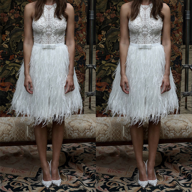 Wedding Gown With Feathers: New Vestido De Noiva 2016 White Feathers Short Wedding