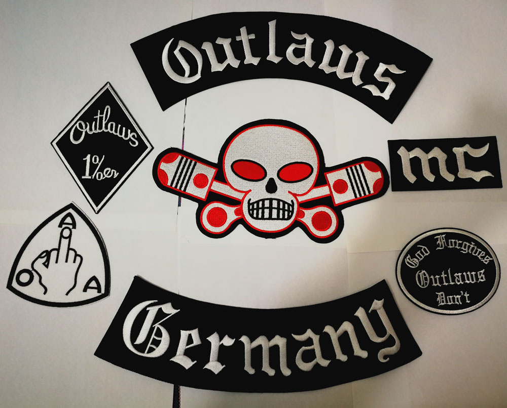 Outlaws Germany Patches Embroidered Iron on Biker Patches for the Motorcycle Jacket Vest Old HAMC Outlaws