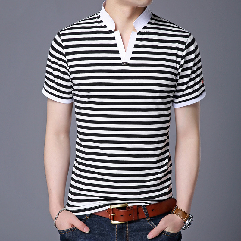 2018 Summer New Mens Striped   Polo   Shirts V Neck Short Sleeve Fashion Casual   Polo   Shirt Slim Fit Cotton Soft High Quality Male
