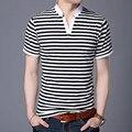 2018 Summer New Mens Striped <font><b>Polo</b></font> Shirts V Neck Short Sleeve Fashion Casual <font><b>Polo</b></font> Shirt Slim Fit Cotton Soft High Quality Male
