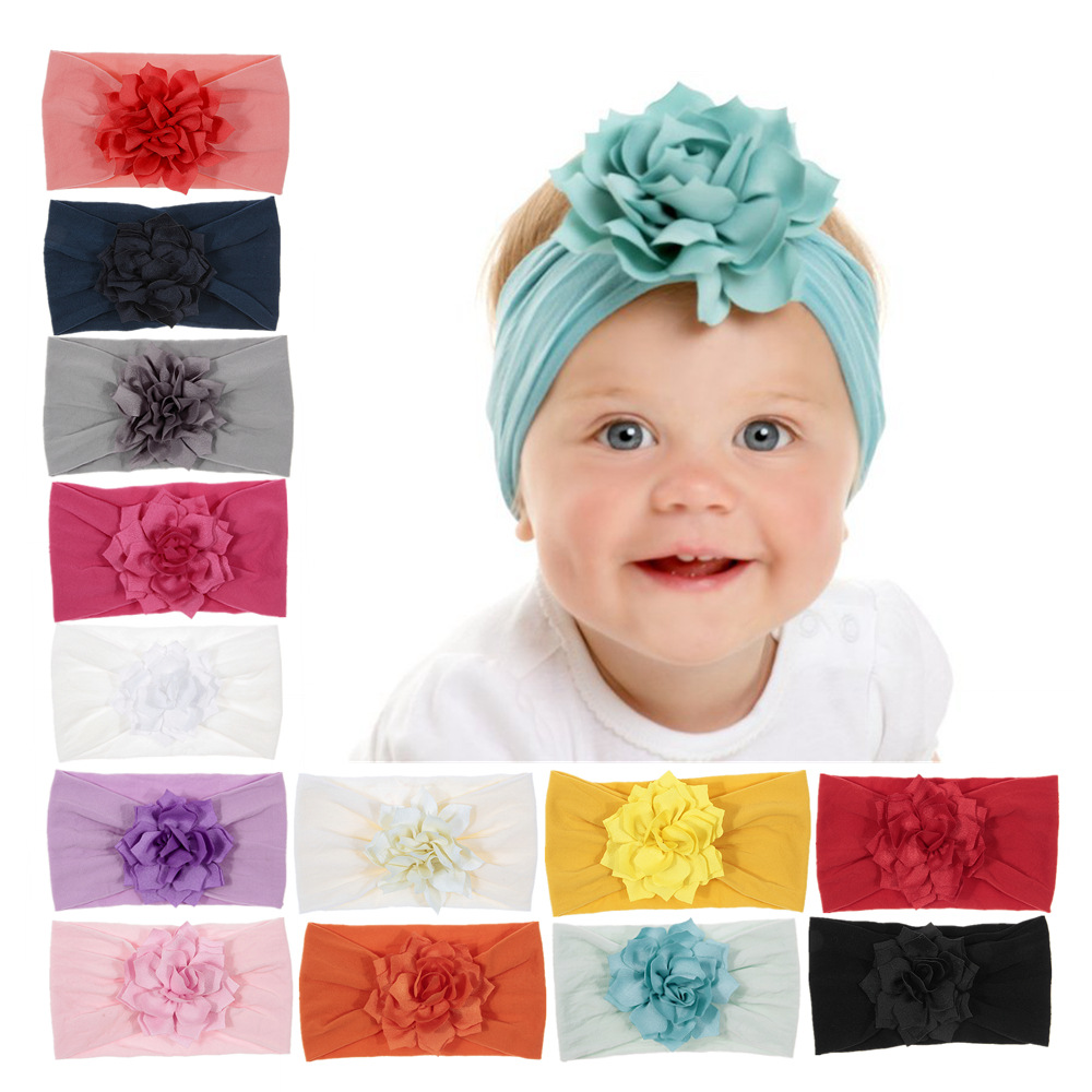 Cute Baby Girl Elastic Lotus Flower Headband Children Hair Rubber Turban Stretchy Nylon Flower Wide Hair Band