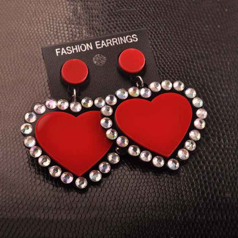 Fashion Red Hearts Heart Shaped Crystal Earrings Hip Hop Punk Peach Acrylic For Women 2017 Nightclub Bar Jewelry In Drop From