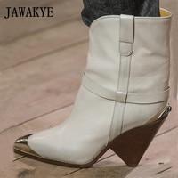 JAWAKYE/женские сапоги до середины икры из натуральной кожи для подиума, с металлическим острым носком, без шнуровки, на высоком каблуке шпильк