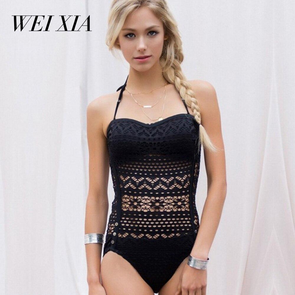 WEIXIA 2018 Sexy Attracting Swimwear Woman Bikinis New Summer Swimsuit black print Swimsuit Female Backless Bodysuit 1601