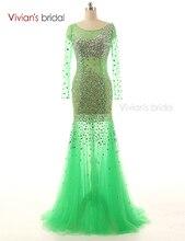 Vivian der Braut Kristall Perlen Mermaid Abendkleider Tulle Gericht Zug Prom Grown vestido de festa