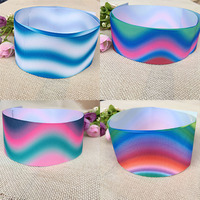 Free Shipping Gradient Color Rainbow Fade Printed Grosgrain Ribbon Hairbow Headwear Party Decoration Wholesale 50 Yards