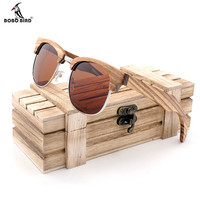 Ebony BOBO BIRD Brand Design Luxury Sunglasses Women Bamboo Wood Handmade Sun Glasses Man Fashion Vintage