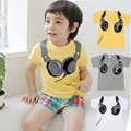 Hot Sale Boys Clothing Headphone Design T Shirts Baby Boys Girls Short Sleeve Tops Boy Cartoon T-Shirts Child Clothing