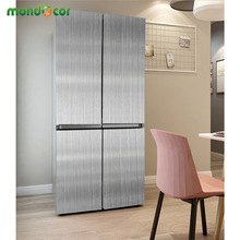 Refrigerator Self Adhesive Wall Sticker Brushed Silver Metal Texture Contact Paper Kitchen Cabinet Fridge Waterproof Stickers