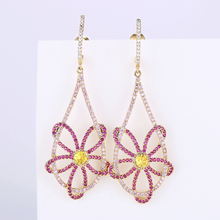 New Beautiful Hollow Flower Earrings for Women Wedding or Party 925 Jewelry Silver Pin AAA CZ Stone Paved XIUMEIYIZU Brand