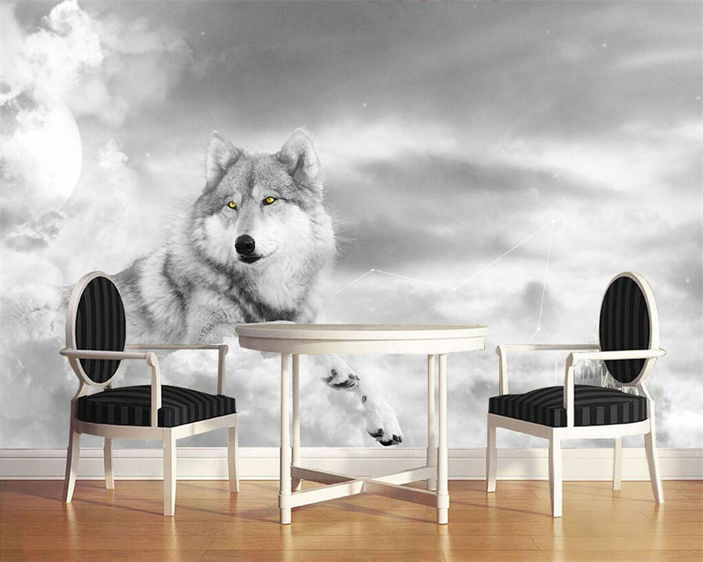 Us 8 85 41 Off Beibehang Custom Wallpaper Murals Mood Personality Tv Background Wall Wolf Siberian Mural Dog Decoration Painting 3d Wallpaper In