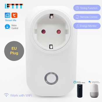 100pcs Smart life WIFI Smart Socket 16A EU Plug Power Monitor Smart Timing Socket Wireless Outlet Voice Control DHL shipping