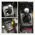 FIT For Skoda Octavia 2 A5 MK2 2004-2010 2010 5 Speed Car Gear Shift Knob With Black Leather Boot Chrome Cap