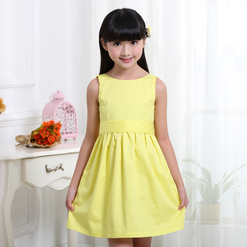 Kids Girls Backless Cotton Dress Princess Sleeveless Casual Summer Dress Clothing for Little Girl 4 to 12 Years 3 Color 2017 new brand little maven 1 6 years girls short sleeve floral summer dress cotton casual dresses kids clothing kf159