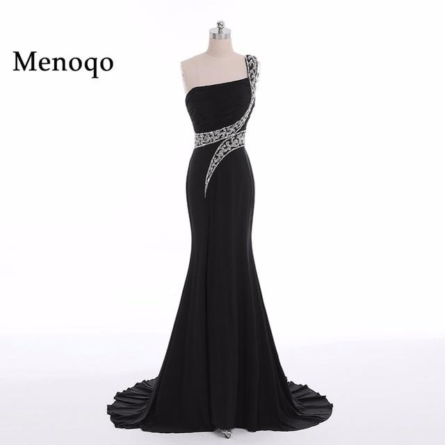 cecbf9442fba Elegant Black Mermaid Long Evening Dresses 2018 Beaded vestido longo Formal  Party Prom Gowns One Shoulder