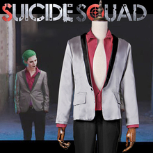 Suicide Squad Jared Leto Joker Cosplay Costume Halloween Carnival Cosplay Suit Silver Coat Psychos Killers Jacket