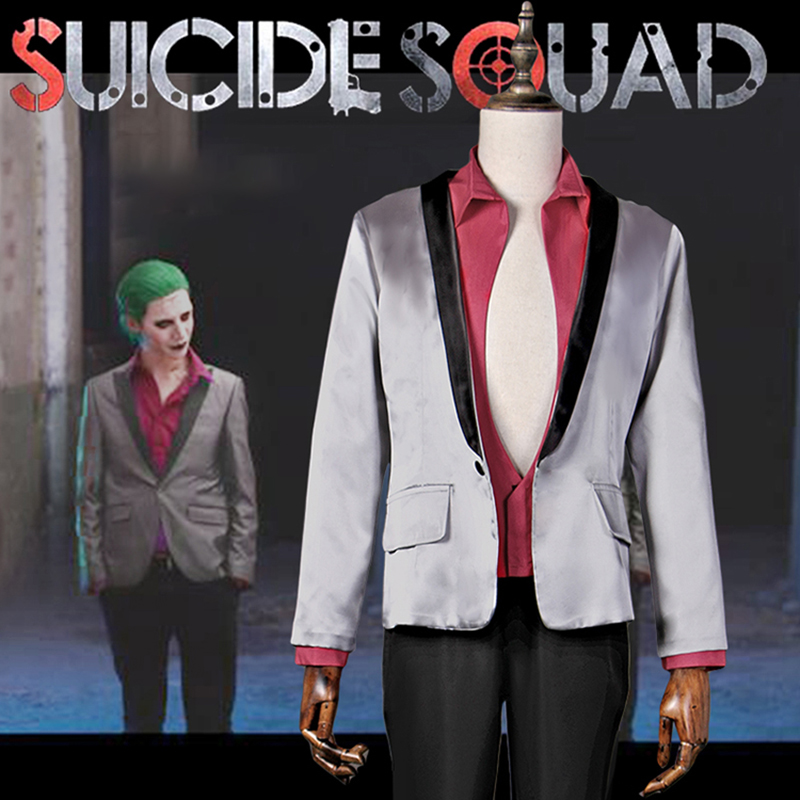 Suicide Squad Jared Leto Joker Cosplay Costume Halloween Carnival Cosplay Suit Silver Coat Psychos Killers font