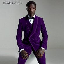 0021e1135 KUSON 2018 púrpura elegante Slim Fit los hombres traje de hombre mejor novio  esmoquin Casual de terciopelo de baile trajes de bo.