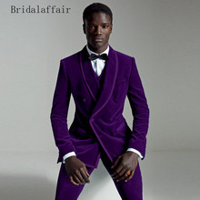 KUSON 2018 Elegant Purple Slim Fit Men Suit Best Man Groom Groomsmen T