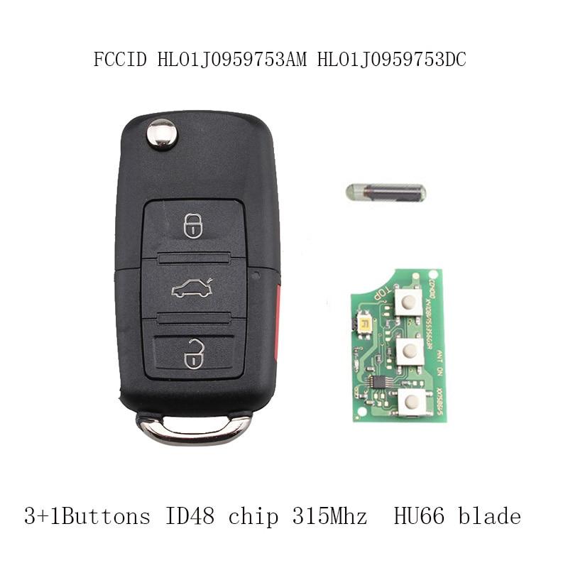 Flip Key Car Remote Keyless Entry Transmitter Fob For VW Jetta Passat 2002-2005 HLO1J0959753AM 4Buttons 315Mhz HU66 blade ID48