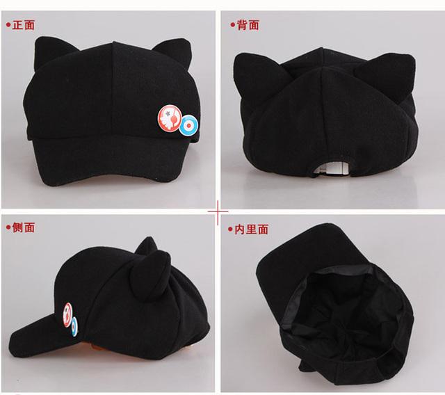 2016 new Anime Neon Genesis Evangelion EVA Asuka Langley Soryu Cat Ear Polar Fleece Cosplay Hat for woman Cap + badges