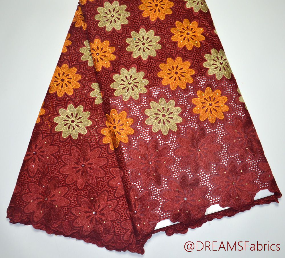 Latest High Quality Nigeria design African Maroon Swiss Voile wedding lace fabric 5 yards traditional wedding lace