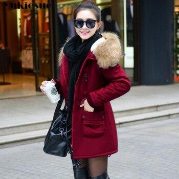 плюс размер парки   Модные осенние теплые зимние куртки, Женская длинная парка с меховым воротником, большие размеры, Повседневная Хлопковая женская верхняя о...