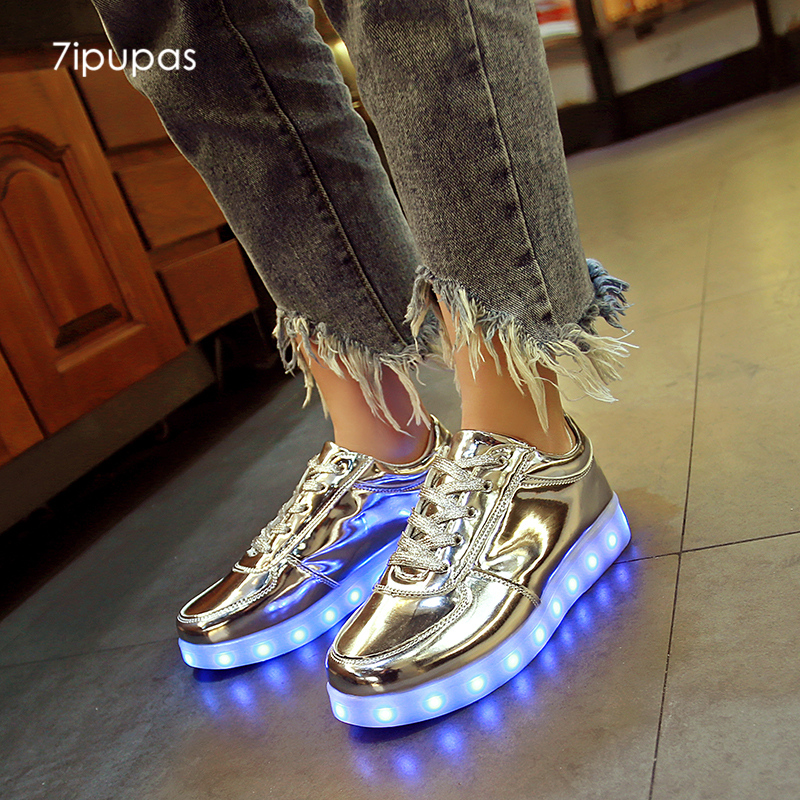 7 sepatu Led light Mode boy menyala sepatu untuk anak-anak unisex biaya usb sepatu gadis Bercahaya warna-warni yang dipimpin bersinar sepatu