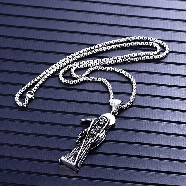 STAINLESS STEEL SKULL DEATH SCYTHE NECKLACE