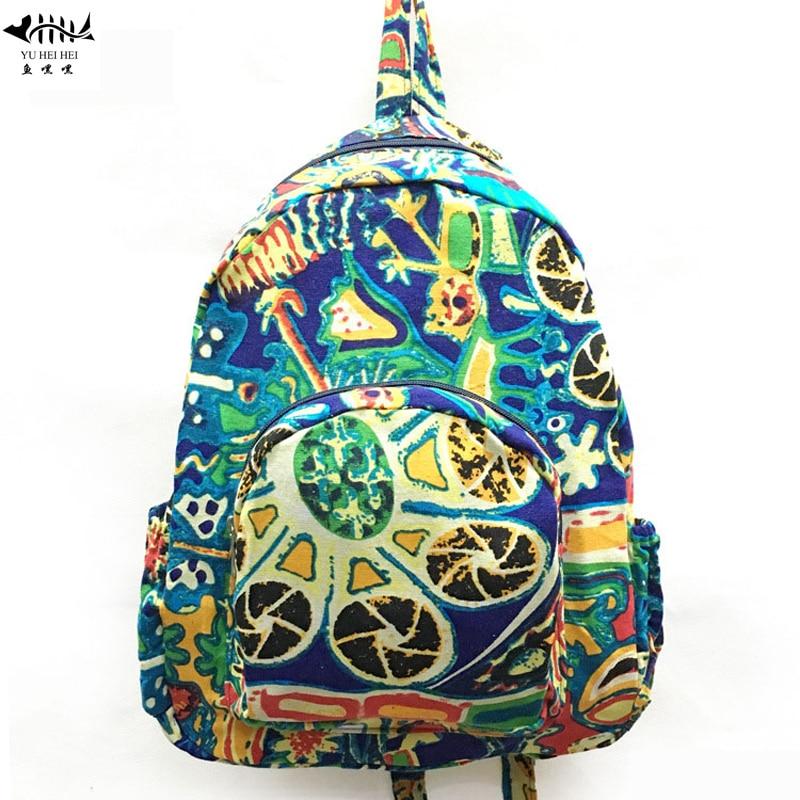 High Quality Cotton Canvas Bohemian Backpacks Women Bags Small Bohemian Travel Backpack Bag Free Shipping