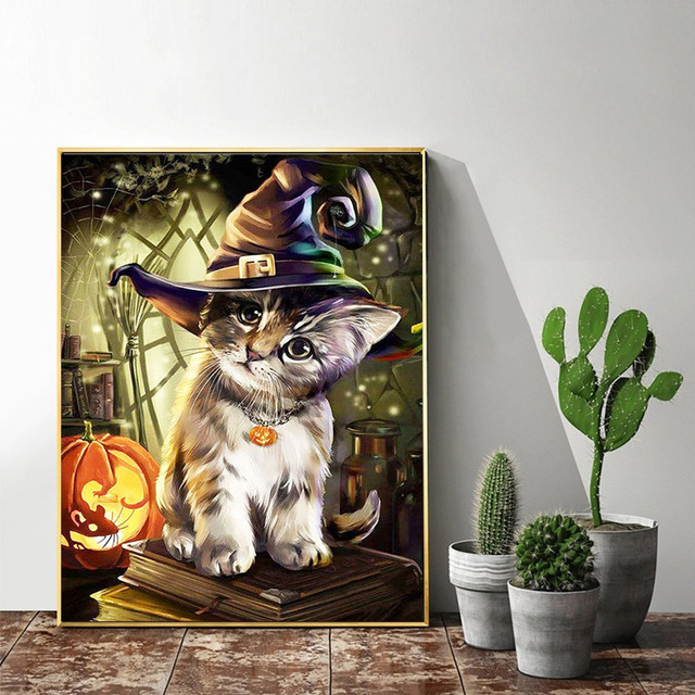 HUACAN Diamond Painting Full Square Halloween Cat Paint With Diamonds DIY Diamond Embroidery Animals Picture Of