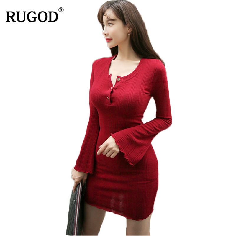 rugod deep o neck long above knee sweater dress women Cotton slim bodycon dress pullover female Autumn winter dress 2018