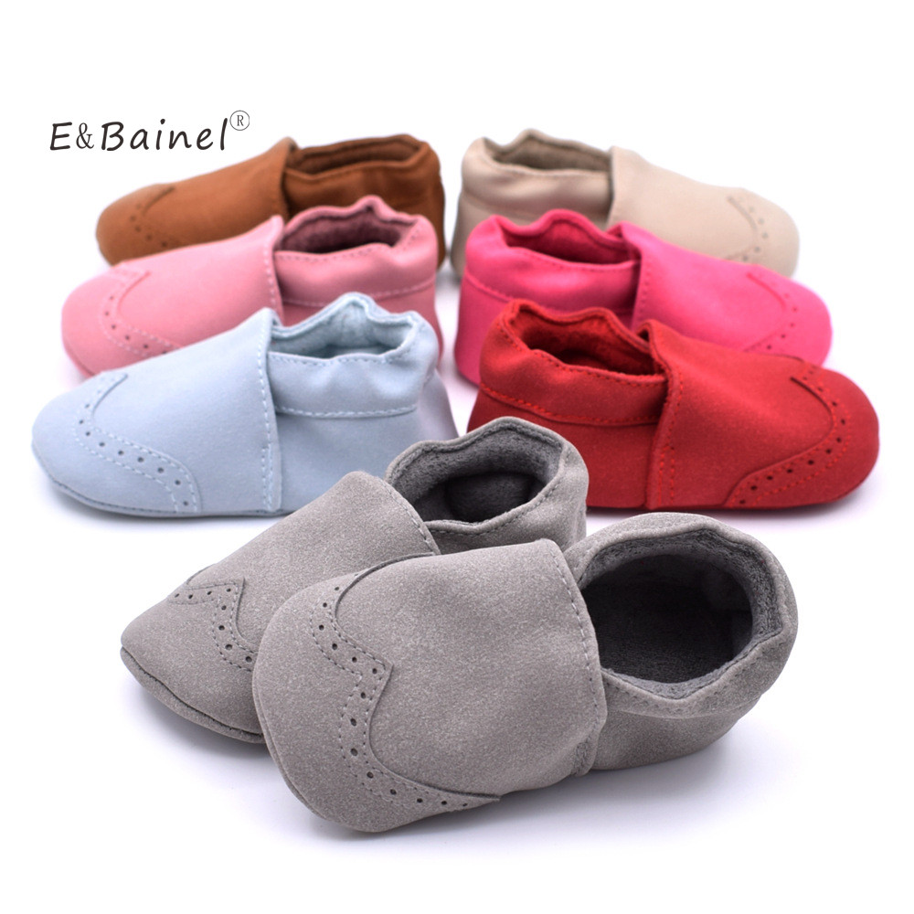 E&Bainel New Baby Moccasins Infant Toddler Suede Leather Shoes Kids Girls Boys Prewalker Anti-slip Soft Sole Shoes First Walkers newborn canvas classic sports sneakers baby boys girls first walkers shoes infant toddler soft sole anti slip baby shoes