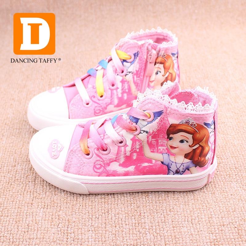 New Beauty Childrens Shoes Girls 2017 Sofia Princess Cartoon Running  Sneakers Fashion Canvas Kids Flat Sneaker ... 89c72f650