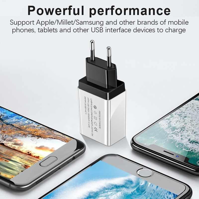 Cargador USB cargador de 3 puertos cargador de carga rápida UE/EE. UU. Para Samsung iPhone Xiaomi Huawei Wall cargador adaptador Universal para teléfono móvil