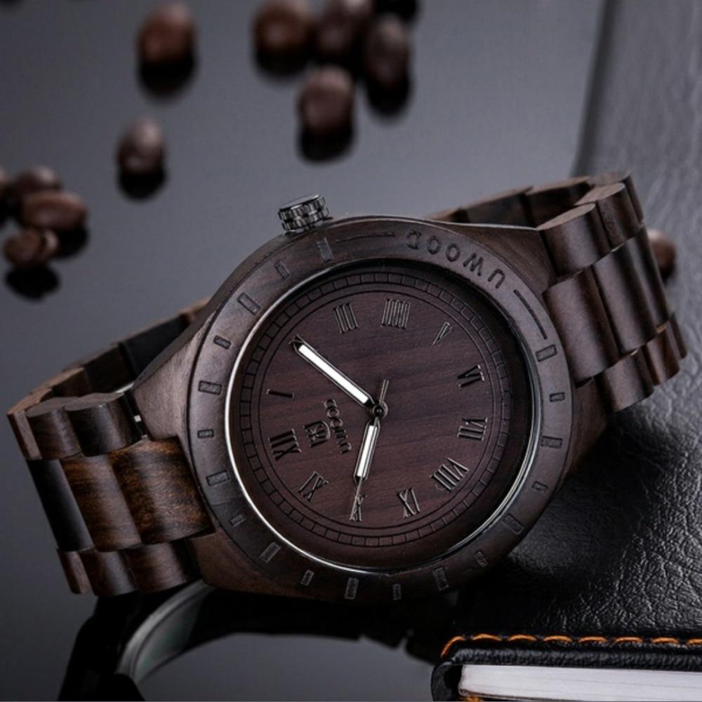 цена на Uwood wooden watch Mens 2018 top luxury brand Verawood Quartz Wristwatch Water Resistant relogio feminino watches Fashion Watch