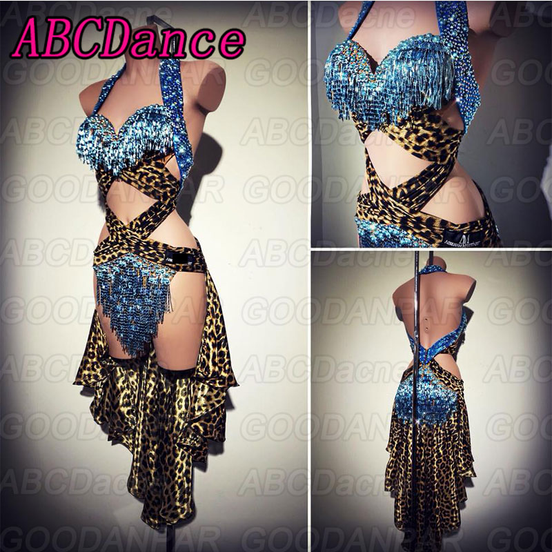 Latin Dance Dress Women Sexy Backless Dress For The Dance Leopard Print Dress For Ballroom Dancing