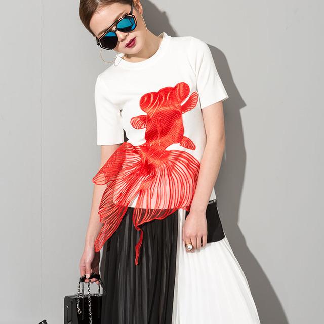 [Soonyour] 2017 primavera verão em torno do pescoço manga curta t-shirt da forma das mulheres de cor sólida preto bordado tricô maré 1tb0320