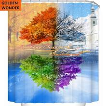 цена на Free Shipping New Design Tree Colorful Shower Curtain Bathroom Curtain Data Printing Cortina Polyester Water-proof Home Garden