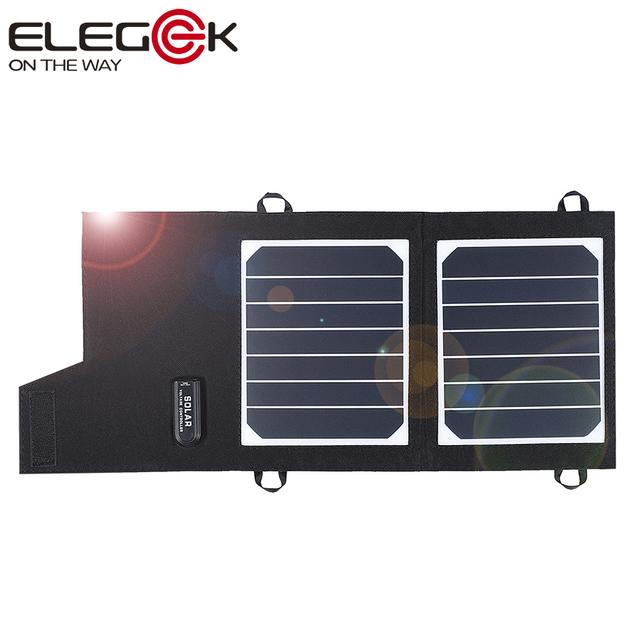 Elegeek 7 w carregador de painel solar portátil dobrável com sunpower alta eficiência da célula solar para iphone samsung psp 5 v câmera etc