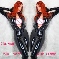 Plus Size S 5XL Black Patent Leather Bodysuit With Gloves Sexy Woman Latex Catsuit Fetish Gothic PVC Bodysuit Open Crotch Zipper