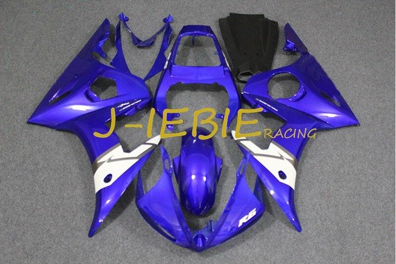 Blue white Injection Fairing Body Work Frame Kit for Yamaha YZF R6 2003 2004