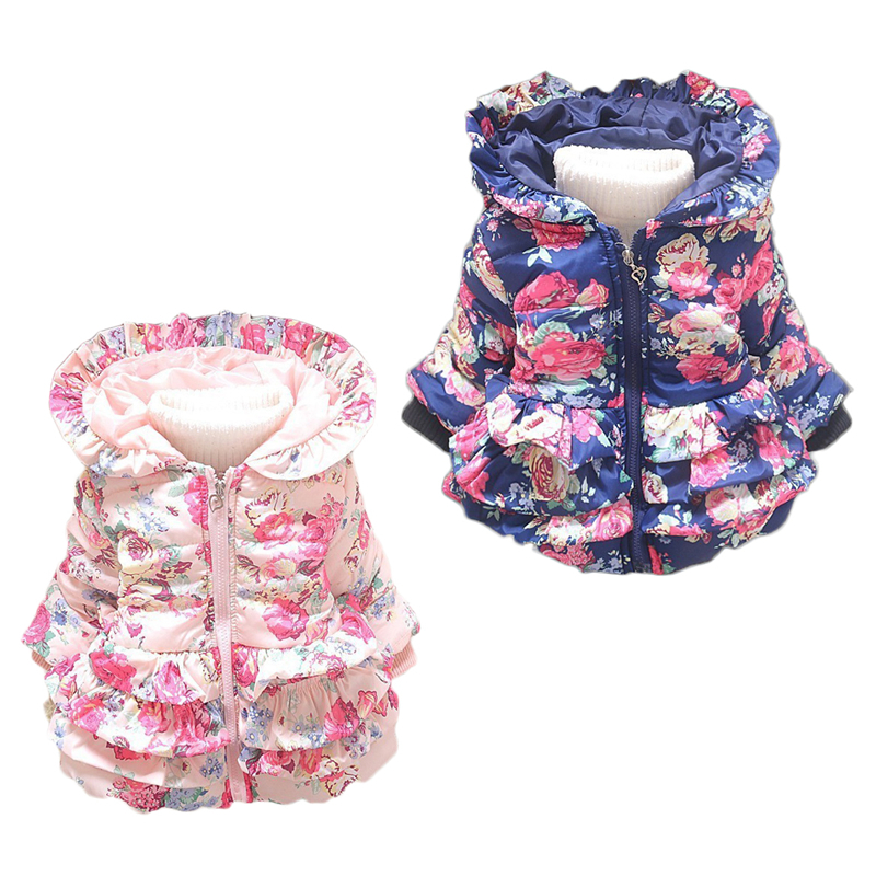 New baby girl's flower jacket coats girl outerwear autumn Winter Children's clothing children outerwear Hooded Jacket цена и фото