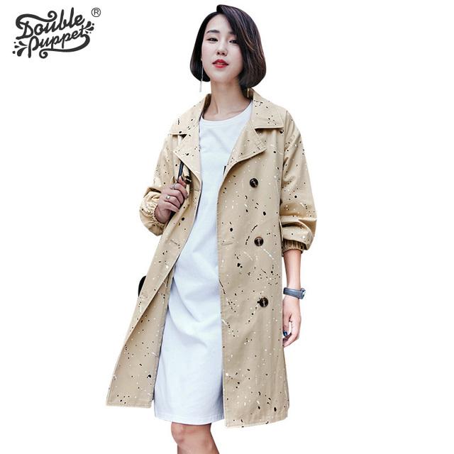 Doble títere 2017 nuevo otoño invierno de la alta calidad llena de algodón abrigo de ocio loose estilo Británico de manga larga ropa de las mujeres 363012