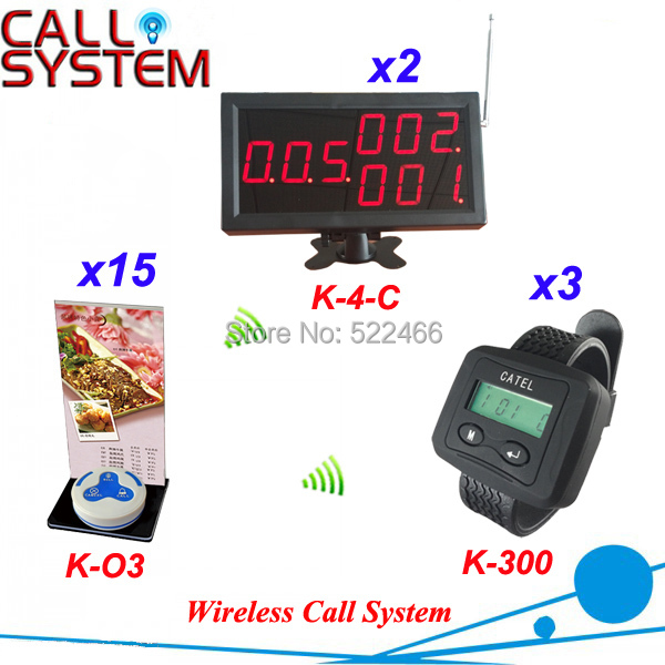 Restaurant Wireless Call Button System in 433.92mhz with 12 buttons, 3 wrist watch and 2 display screen DHL shipping free restaurant pager watch wireless call buzzer system work with 3 pcs wrist watch and 25pcs waitress bell button p h4
