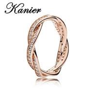KANIER S925 Pure Silver Pandor Original Copy Has Logo PANDORS Rose Braided Pave Rings Women Jewelry