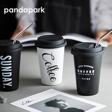 Pandapark New Fashion Travel Coffee Mug Creative with Lid Stainless Steel High quality Cups and Mugs Tea Milk Drinkware PPX040