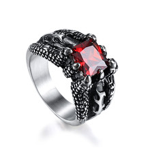 Gun Black Stainless Steel Dragon Claw Finger Ring Elegant Big Red Gem Stone Vintage Men Ring Retro Titanium Steel Rings For Male(China)